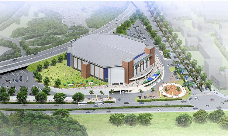 コザ運動公園内に建設されている1万人収容のアリーナの外観予想図
